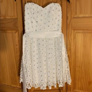 Delia white strapless dress w white ribbon